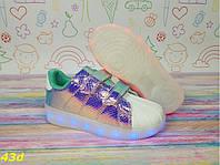 Детские кроссовки  светящиеся с подсветкой Led цвет серебро хамелеон р. 35, фото 1