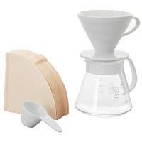 Подарочный набор для приготовления кофе: Пуровер Hario 02 керамика, Сервировочный заварник, Фильтры