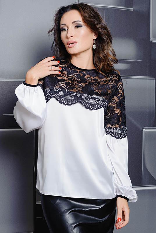 Белая блузка с кружевом Мери батальная