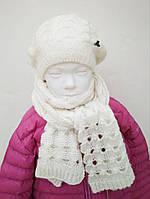 Берет крупной вязки, девочка, белый 143BILA002 JBE, Италия 52-56 см