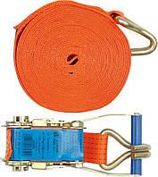 Ремень для крепления багажа с трещоткой , + крючок 5т, 2000 daN, 50мм х 12м - VOREL