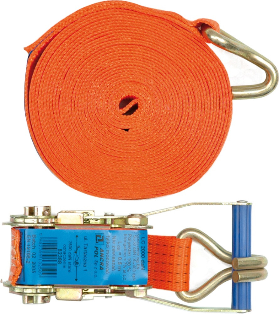 Ремень для крепления багажа с трещоткой , + крючок 5т, 2000 daN, 50мм х 8м - VOREL