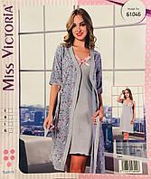 Женская пижама с халатом хлопок Miss Victoria Турция размер S(44) 61046