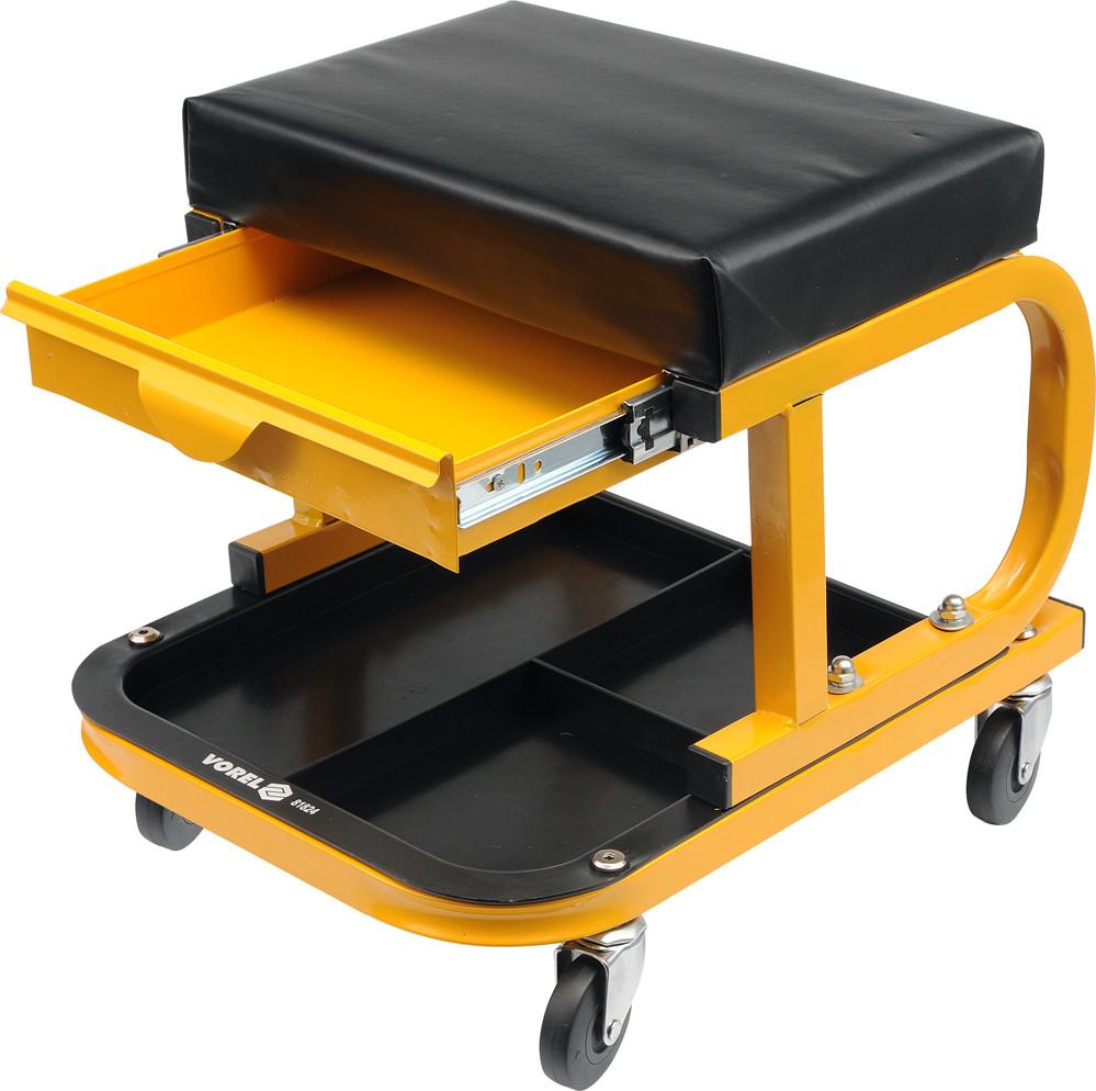 Табурет на колесах с ящиками и полкой для инструментов - VOREL