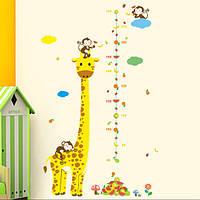Интерьерная наклейка для измерения роста ребенка Жираф