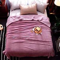 Плед меховой полоска 200х220 Розовый