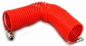 Шланг спиральный для пневмоинструмента с переходниками (нейлон) на 10 метров 6/8 мм. Италия (ДЖ-10)