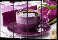Модульная картина Ароматный кофе и тюльпаны 104*73 см Код: W956S