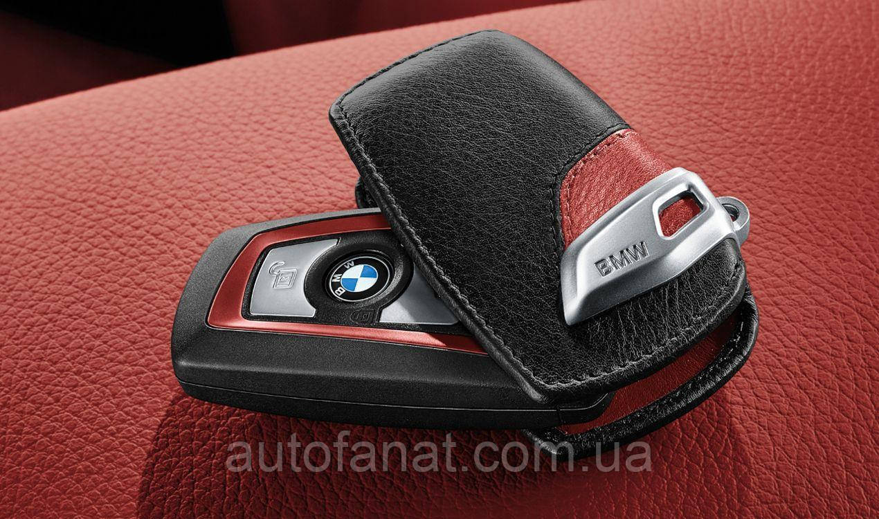 Кожаный футляр для ключа BMW Leather Key Case Sport Line Red (82292219909)