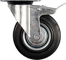 Колесо к коляске D - 200 мм, b - 46 мм с тормозом и вращающейся опорой; h - 235 мм, навантаж.- 150 кг - VOREL