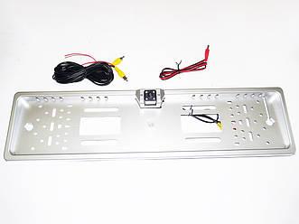 Камера заднего вида в рамке автомобильного номера (с подсветкой 4LED  - Серая)