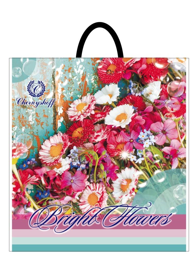 Пакет с петлевой ручкой 400*420 Вторичка от производителя Полевые цветы