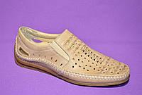 Туфли летние мужские кожаные бежевого цвета , фото 1