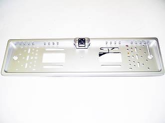 Камера заднего вида в рамке автомобильного номера (с 16LED подсветкой - Серая)