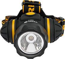 Фонарь на лоб, ударопрочный 3-функции, 3 батарейки ААА, 1 LED / 1 W - VOREL