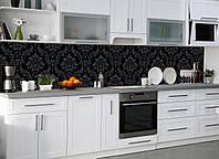 """Скинали на кухню Zatarga """"Классика"""" 600х2500 мм черный виниловая 3Д наклейка кухонный фартук самоклеящаяся"""