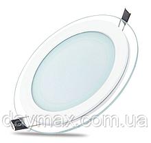 Светильник светодиодный встраиваемый LED со стеклом 12w,врезная потолочная панель,круг CLARA-12 6400k