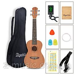 Укулеле концертное (23 дюйма) Apelila (чехол, тюнер, струны, ремень, наконечники, медиатор, аппликатура)