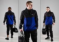 Черно-синий спортивный костюм в стиле Nike (анорак+штаны, БАРСЕТКА В ПОДАРОК), Реплика ААА, фото 1