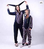 """Женский кигуруми красивый велюровый комплект теплый """"кигуруми"""" для мамы и ребенка р. 36-50"""