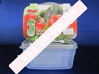 Судки квадратные глубокие Набор лотков Дуня 30010 лотки контейнеры пищевые 3 штуки