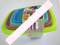 Судки квадратные с цветными крышками Набор лотков Дуня 300876 лотки контейнеры пищевые 4 штуки