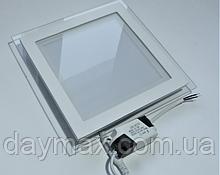 Светильник светодиодный встраиваемый LED со стеклом 12w,врезная потолочная панель,квадрат MARIA-12 6400k