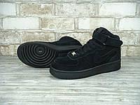 Кроссовки черные Nike Air Force Triple Black (реплика +ААА), фото 1