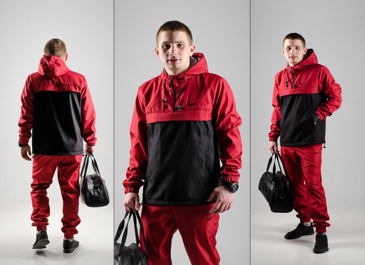 Черно-красный спортивный костюм в стиле Nike (анорак+штаны, БАРСЕТКА В ПОДАРОК), Реплика ААА