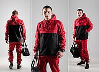 Черно-красный спортивный костюм в стиле Nike (анорак+штаны, БАРСЕТКА В ПОДАРОК), Реплика ААА, фото 1