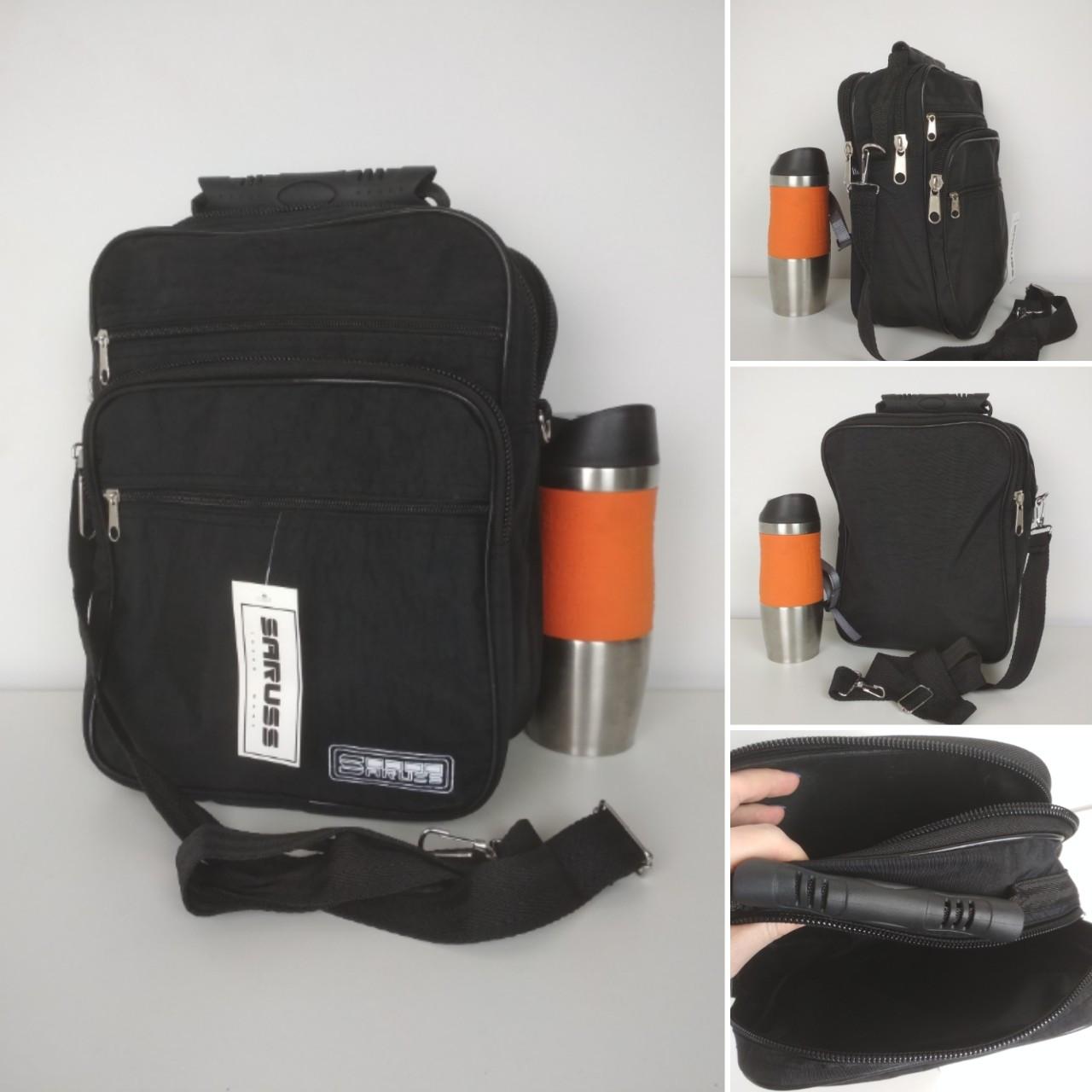Мужская черная сумка через плечо 20*26*13 см