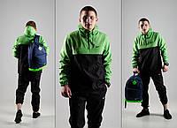 Черно-салатовый спортивный костюм в стиле Nike (анорак+штаны, БАРСЕТКА В ПОДАРОК), Реплика ААА, фото 1