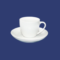 Чашка белая кофейная с блюдцем керамическая 75 мл