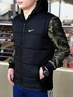 Черная мужская безрукавка в стиле Nike, черная спортивная жилетка, Реплика ААА