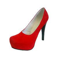 Женские туфли из красного замша, модель есть в других цветах