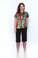 Блуза VIOLETA 636-07 атласная, на пуговицах, с коротким  рукавом.