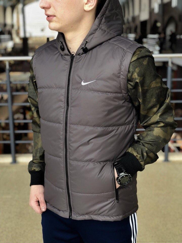 Серая мужская безрукавка в стиле Nike, серая спортивная жилетка, Реплика ААА