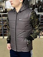 Серая мужская безрукавка в стиле Nike, серая спортивная жилетка, Реплика ААА, фото 1