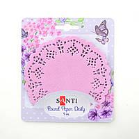 Набор салфеток ажурных круглых Розовой