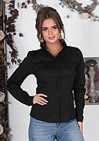 Классическая женская котоновая блузка с длинным рукавом чёрная 42 44 46 48, фото 1