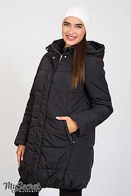 Куртка зимняя черная с капюшоном теплая для бемеременных размеры от 42 до 52