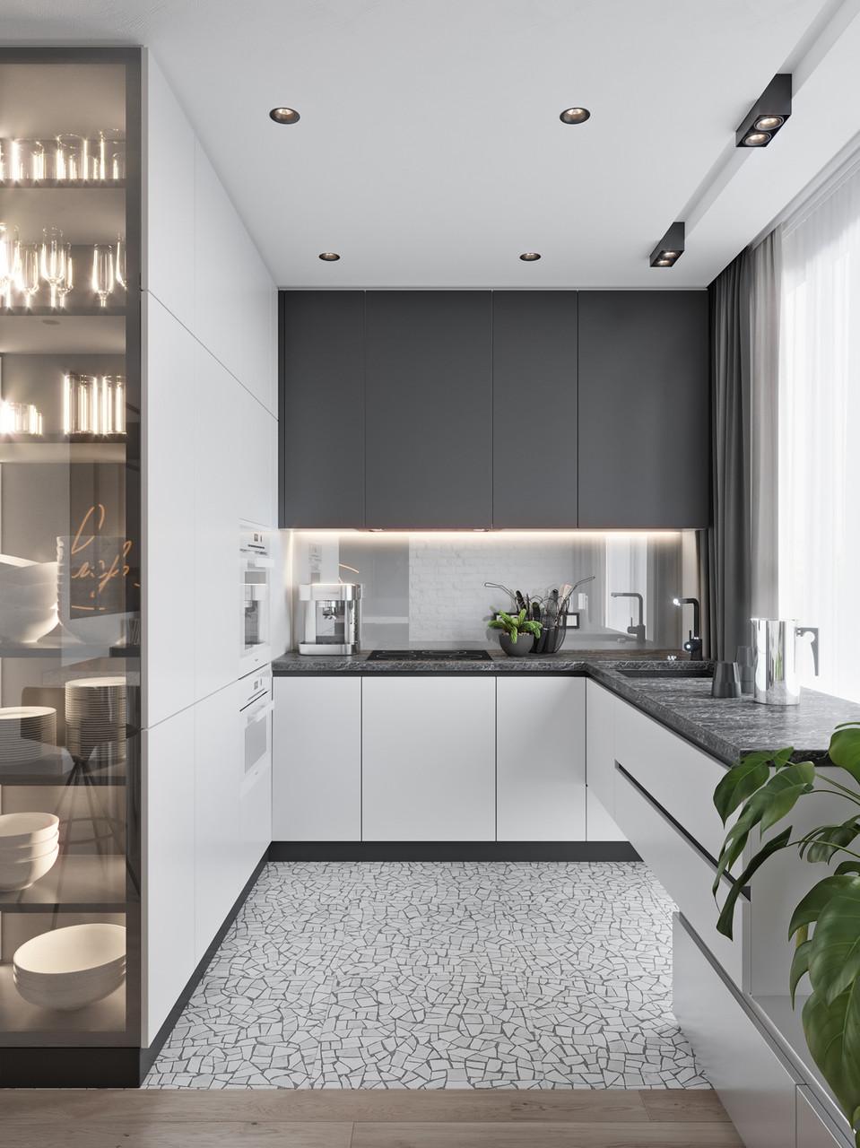 Кухня в бело серых тонах без ручек Новинка