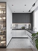Кухня у біло-сірих тонах без ручок Новинка, фото 1