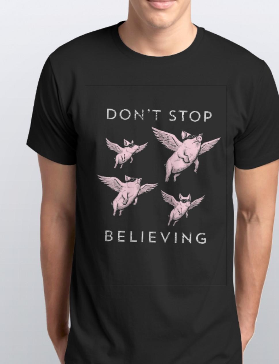 Футболки мужские,летающие свиньи. Чоловічі футболки з принтом Свінки