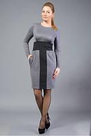Платье из мягкого трикотажа лакоста, со вставками из костюмной шерстяной ткани.