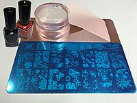 Маникюрный набор Стемпинга для ногтей круглый  + Пластина + Краска