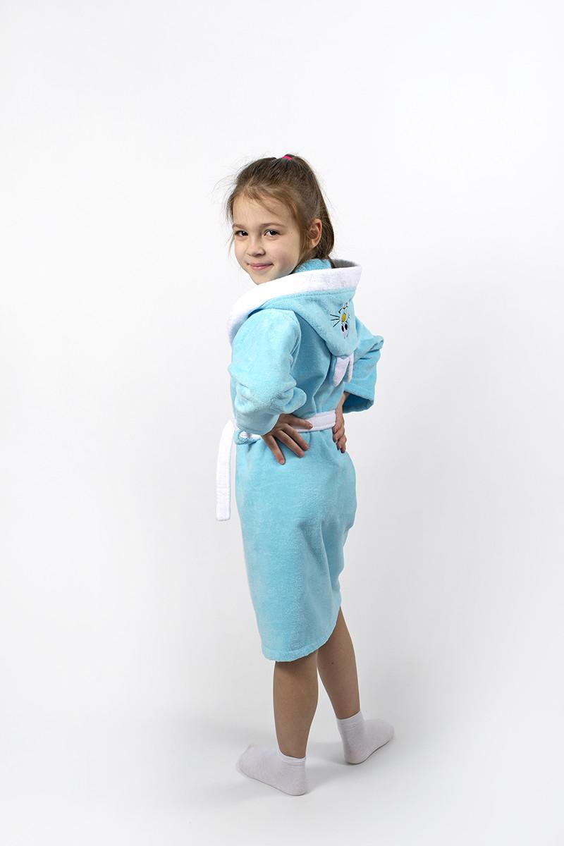 Халат детский Lotus - Зайка новый 9-10 лет бирюзовый