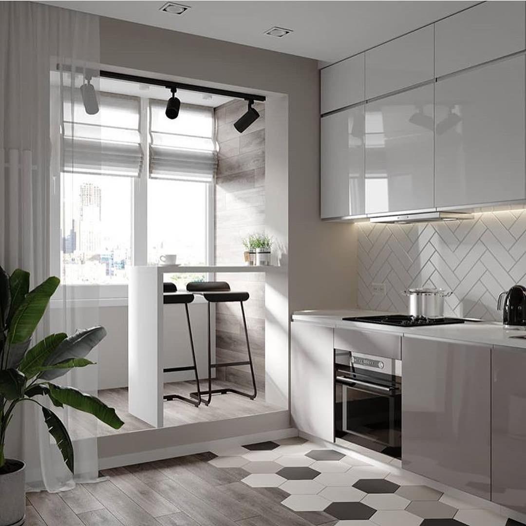 Кухня глянцевая светлая двухъярусная без ручек Новинка