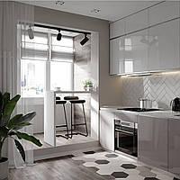 Кухня глянцевая светлая двухъярусная без ручек Новинка , фото 1