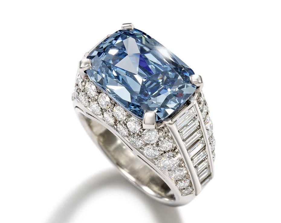 Кольцо с голубым топазом и бриллиантами.